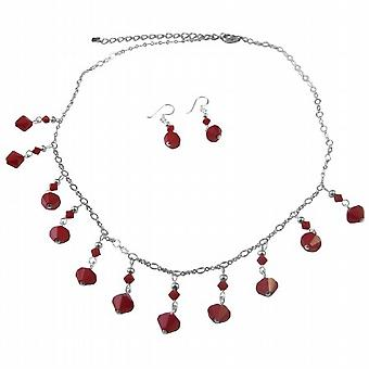 Exquisite Dark Red Coral Swarovski Crystals Silver Plated Necklace Set