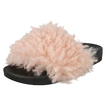 Girls Spot On Fake Poodle Fur Mule Sliders H0252