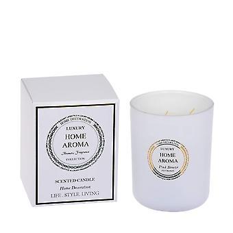 Duftende stearinlys jasmin glass jar gave boks hvit