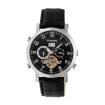 Heritor Automatic Edmond Leather-Band Watch w/Date - Silver/Black