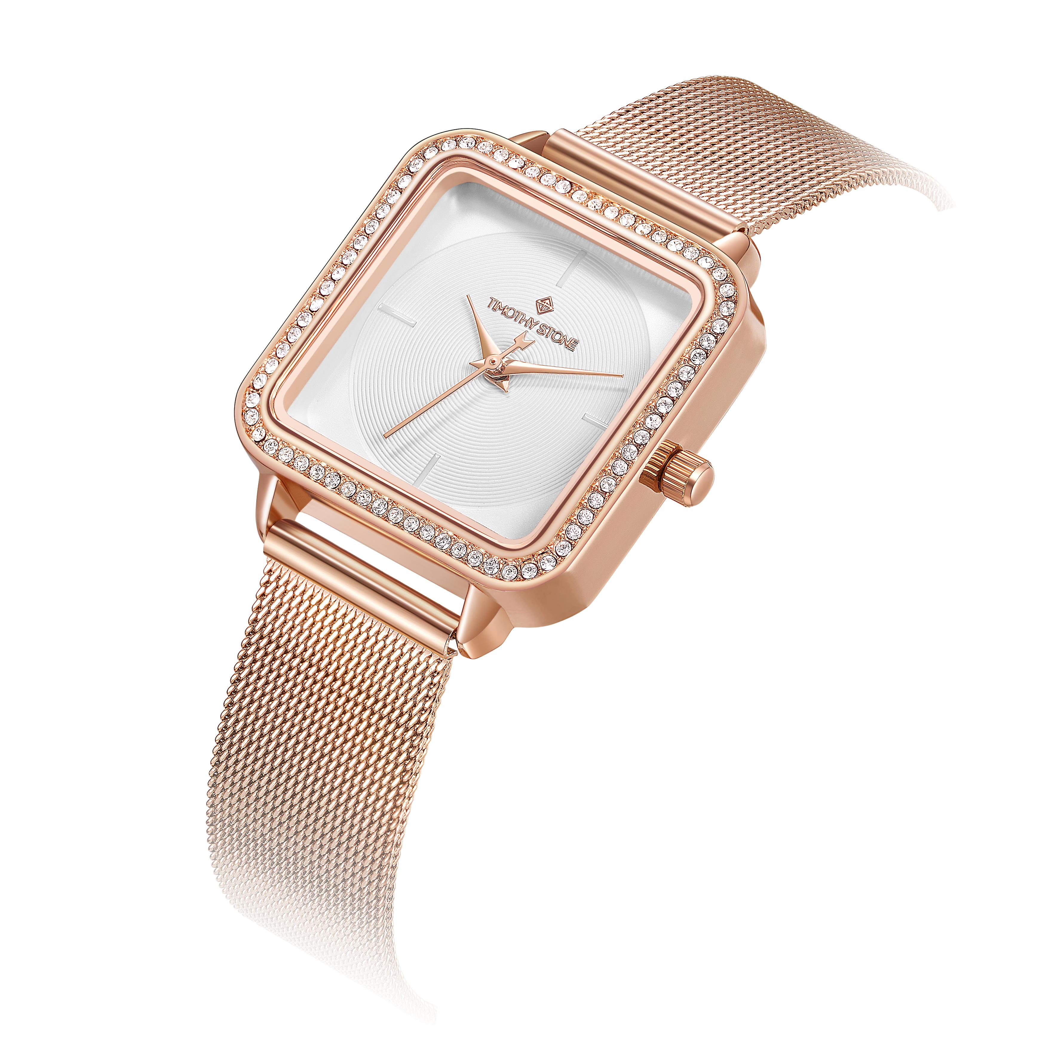 Timothy Stone Ladies Quartet collection with cristal swarovski. rose gold