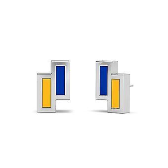 San Jose State University Sterling Silver Asymmetric Enamel Stud Earrings In Blue & Yellow