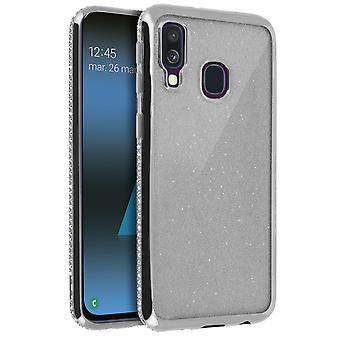 Flip cover, lompakkokotelo glitterillä Samsung Galaxy A40 : lle - Hopea