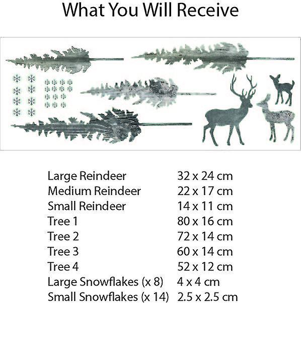Stag & forest wall decal set (grey)