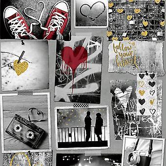 Muriva liefde rotsen hart patroon behang foto collage camera glitter motief A10302