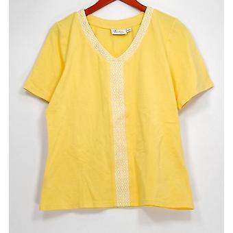 Denim & Co. Top V-hals korte mouw top w/borduurwerk geel A287354