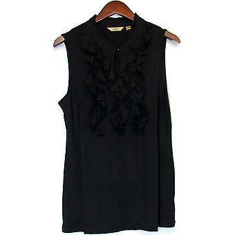 Motto Sleeveless Keyhole Neck Top w/ Ruffles Black A213001