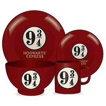 Harry Potter Platform 9 3/4 4 pezzo 4 pezzo in ceramica cena set
