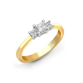 Jewelco London Solid 18ct Yellow Gold 4 Claw Set Princess G VS 1ct Diamond Trilogy Engagement Ring 5mm