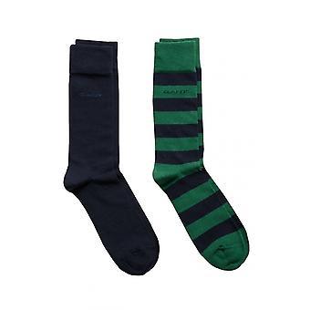 Gant D1. 2 kpl Barstripe-ja vanua sukkia Ivy Green