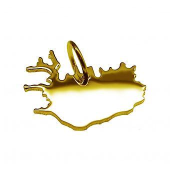 Hänge karta kedja hänge i guldgult-guld i form av ö