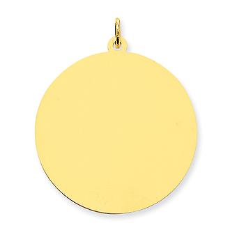 14k geel gouden Solid Engravable gepolijst ronde Disc charme - 4.9 gram
