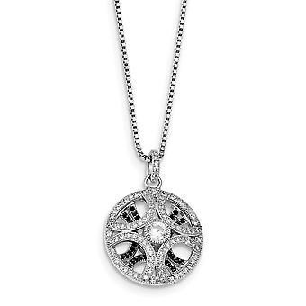 925 plata esterlina Pave negro resorte negro rodiado y CZ Cubic Zirconia simulado diamante brillante ascuas Neckl