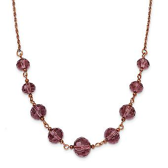 Fancy Lobster Closure Rose tone Purple Crystal Bead 16 Inch With ext Necklace Jewelry Gifts for Women