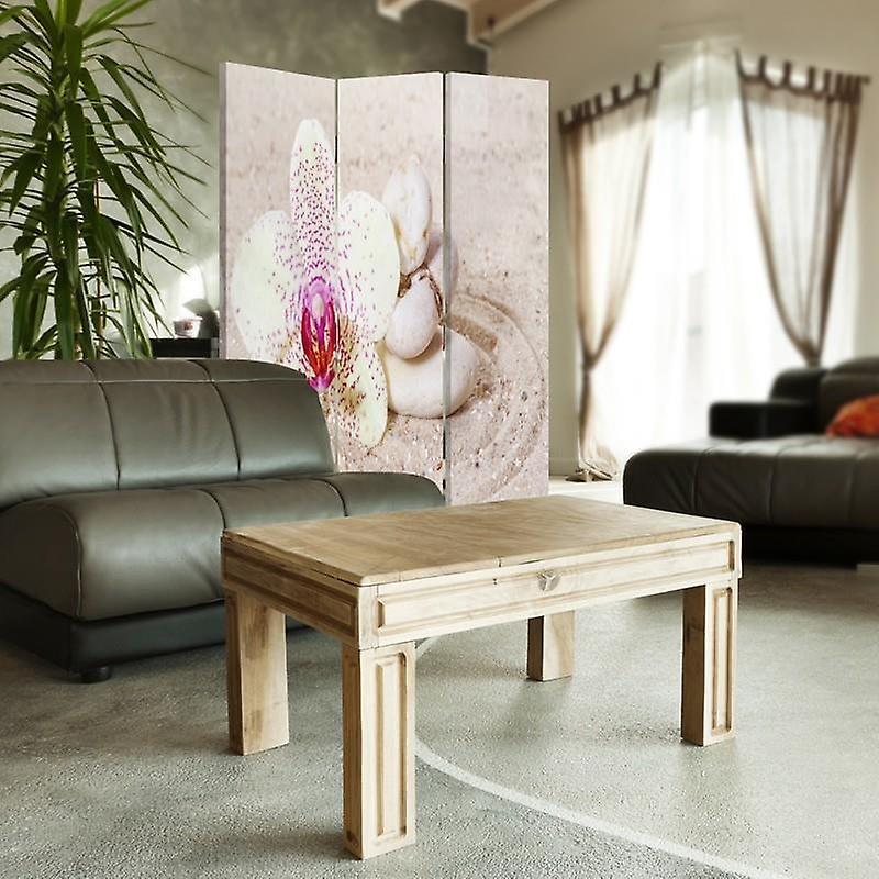 Diviseur de chambre, 3 panneaux, unilatéral, toile, zen de sable