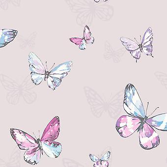 Amelia Butterflies Wallpaper Heather and Pink Holden 98870