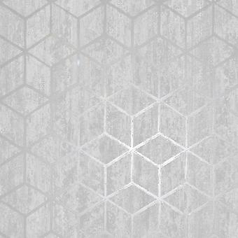 Rochester Geometric Wallpaper Silver - Holden Decor 65200