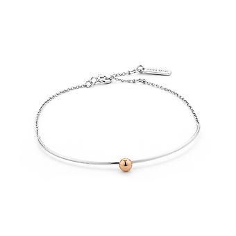 Ania Haie Rhodium Plated With Rose GoldOrbit Solid Bar Bracelet B001-02T