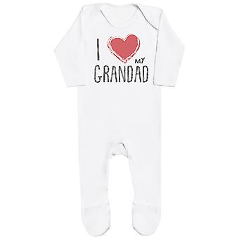 I Love My Grandad Red Heart Baby Romper