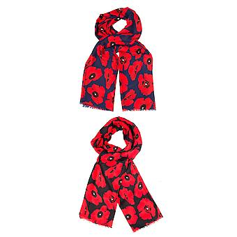 Womens Scarf Shawl Casual Super Soft Floral Poppy Design Ladies Fashion One Size