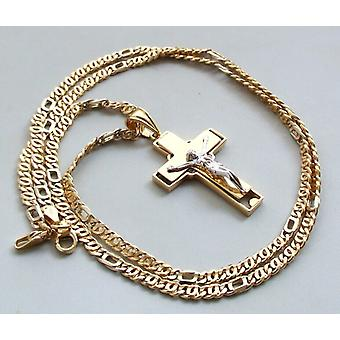 Gold necklace with cross hanger