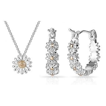 Daisy necklace and hoop earrings set