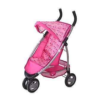 Lorelli muñeca buggy MIMI, corazones rosados, con cesta, dundtop solar, frente de doble rueda