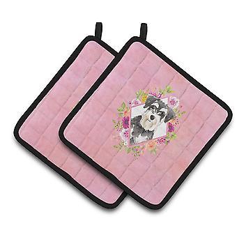 Caroliness Treasures CK4222PTHD Schnauzer #2 rosa blommor par kruka innehavare