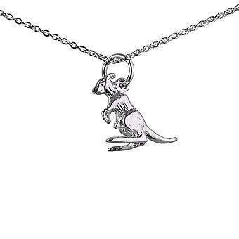 Silver 13x14mm Kangaroo Pendant with a rolo Chain with a 1mm wide rolo Chain 24 inches