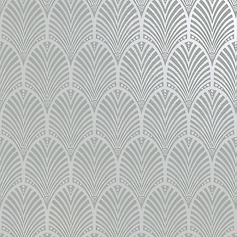 Peacock Art Deco Geo Wallpaper Silver / Grey Holden 65230