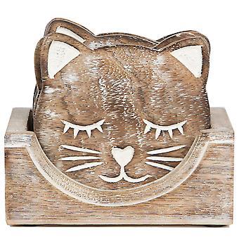 Sass & Belle sett med 6 utskårne katten Coasters