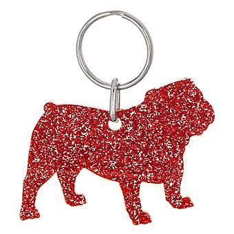 Red Bulldog Style 4 Glitter Acrylic Keyring