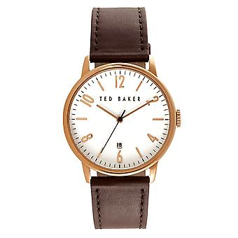 Ted Baker Daniel Quartz White Dial Brown Leather Strap Mens Watch TE10030651