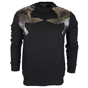 Cavalli Class Cotton Printed Logo Black Sweatshirt