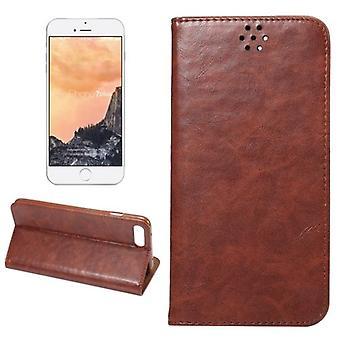 For iPhone 8 PLUS, 7 PLUS lommebok veske, elegant hest tekstur skinndeksel, kaffe