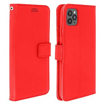 Flip wallet case, slim cover for Apple iPhone 11 Pro Max, silicone shell - Red