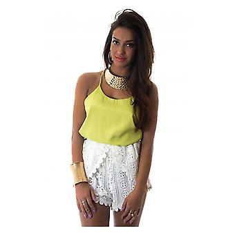 Oversized Green Racer Back Chiffon Vest Top
