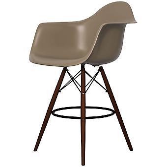 Charles Eames Stil Schiefer braun Kunststoff Bar Hocker mit Armen - Walnuss Beine