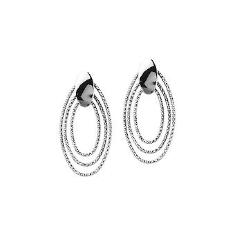 925 Sterling Silver Rhodium Plated Oval Plate 3 Dngltextured Oval Element Earrings Jewelry Gifts for Women