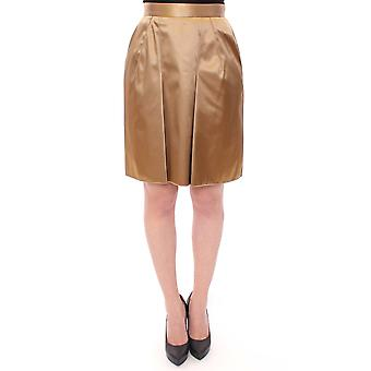 Dolce & Gabbana Gold Stretch Above Knee Zipper Skirt
