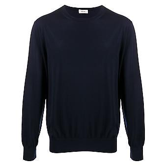 Ermenegildo Zegna Vum96zz110b09 Men's Blue Cotton Sweater