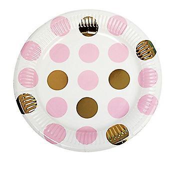 Roz și aur Dots Partidul hârtie plăci x 8 Baby Shower/botez/Party