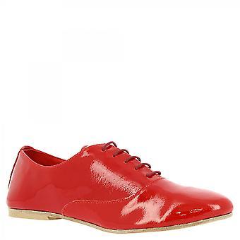 Leonardo Shoes Women's handmade elegant lace-ups shoes red laminated leather