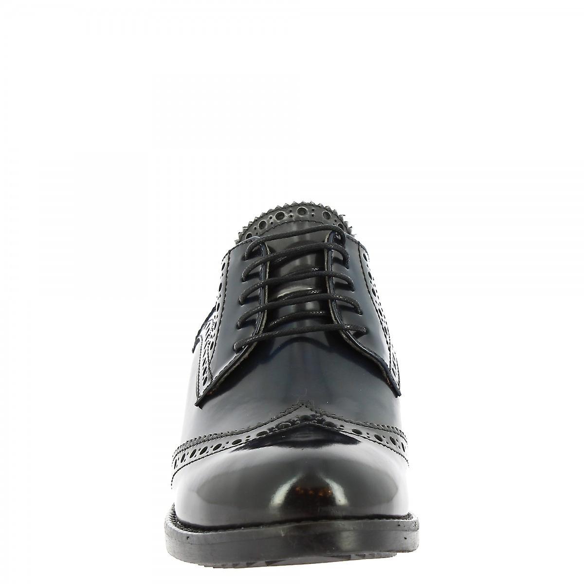 Leonardo Shoes Women's handmade lace-up heel derby shoes dark blue patent leather sJcbT