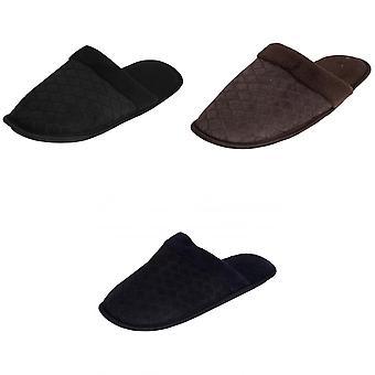 Mens Criss Cross Pattern Memory Foam Slip sur chaussons