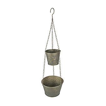 Set of 2 Antique Gold Finished Metal Hanging Planter Baskets