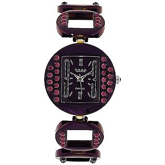 Zaza London Ladies Purple Crystal Set Metal Bracelet Fashion Strap Watch LC04