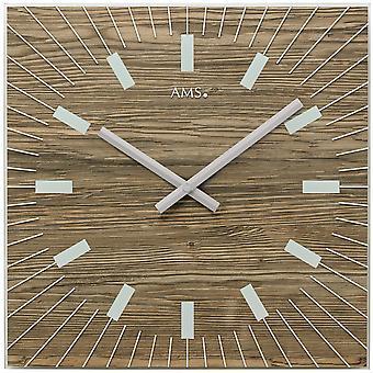 AMS 9578 seinäkello kvartsi analoginen sisustus saksanpähkinä värit kulmikas lasi