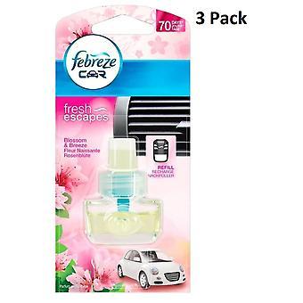 3 x désodorisant Febreze voiture recharge 7Ml - fraîches Escapes - Blossom & Breeze