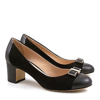 Leonardo Shoes Women's handmade mid heel pumps black suede leather made in Italy